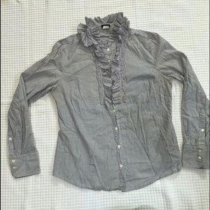 J Crew medium cotton blouse white black stripe